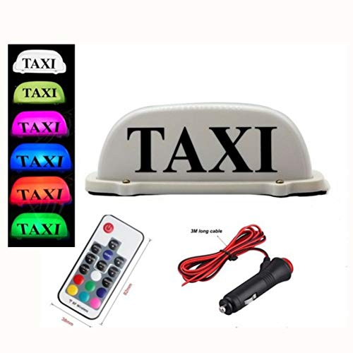 PanDaDa Remote Control 7 Color LED Car Taxi Cab Roof Top Sign Light Lamp Magnetic Top Light Taxi Light USB Plug Line Sign Light