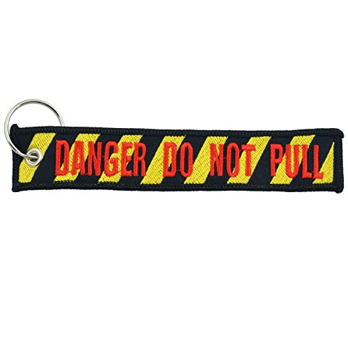 Apex Imports Danger Do Not Pull Black/Yellow/Red Remove Before Flight Style Key Chain 5.5 x 1 Motorcycle ATV Car Truck Keychain