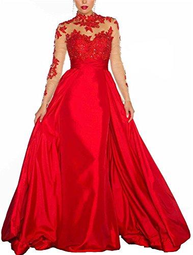 Soirée À Manches Longues Des Femmes Dreamdress Pure Robe De Taffetas Robe Formelle Boule Rouge