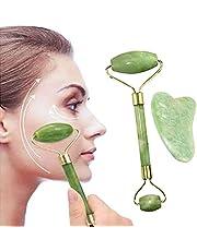 Jade Roller & Gua Sha Set, JR INTL Face Roller Massage Tool, 100% Real Natural Nephrite Jade Roller for Face, Eye, Neck - Anti Aging Jade Facial Roller Massager for Slimming & Firming - Rejuvenate Skin