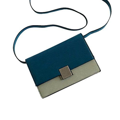 Yy.f Nuevos Bolsos De Mano Pequeño Paquete Cuadrado Golpe De La Moda Del Color Simples Bolsas Ocasionales De La Señora Práctico 2 De Color Interna Blue