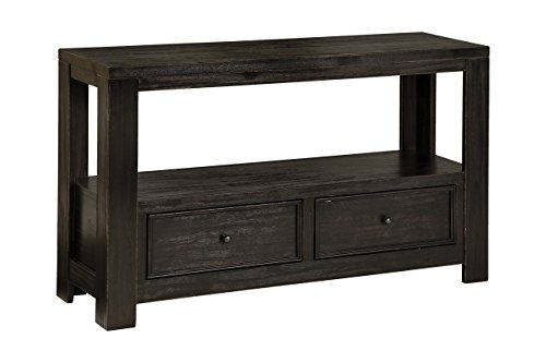 Signature Design by Ashley Gavelston Rubbed Black Sofa Table