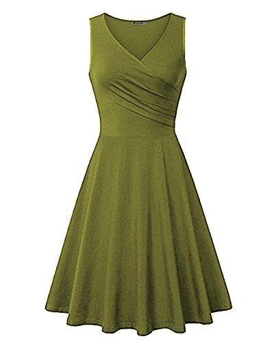 Cotton Sleeveless Wrap Dress - KILIG Women's V Neck Sleeveless Summer Casual Elegant Midi Dress(Green,L)