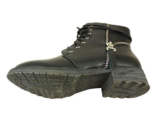 Botines con cordones ante y cremallera en lateral, tamaño grande, diseño de zapato de tacón Negro - negro