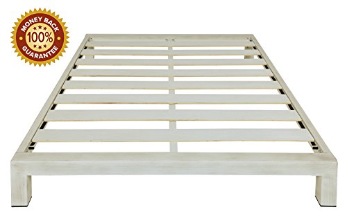 In Style Furnishings Stella Modern Metal Low Profile Thick Slats Support Platform Bed Frame - Queen Size, Brushed White