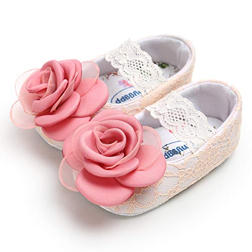 BENHERO Baby Infant Girls Soft Sole Floral Princess Mary Jane Shoes Prewalker Wedding Dress Shoes (12-18 Months M US Infant, -