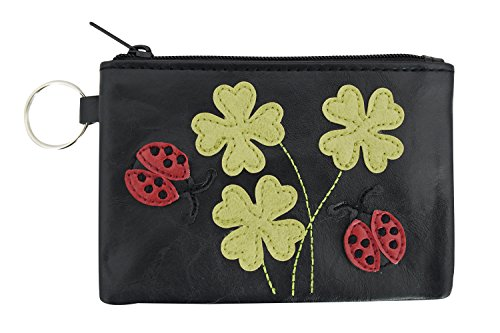Cute Ladybug and Lucky Clovers Applique Coin Purse Keychain (Black)