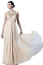 BPSFStudios Apricot V-Neck Floor Length Evening Gown - M
