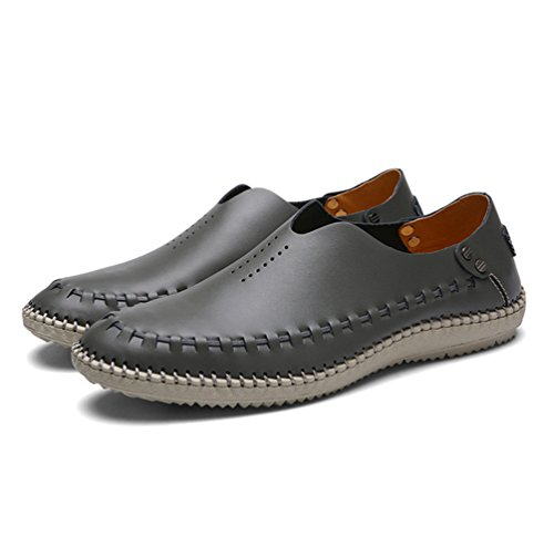 YiLianDa Herren Sommer Breathable Leder Schuhe Gehen Anti Rutsch Slippers Grau