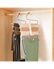 DZOMK Pants Hanger 5 Layers Foldable Stainless Steel Hangers ,Space Saving Pants Hangers Closet Storage Organizer for Jeans Trousers Pants Skirts Scarf (2 Pack)