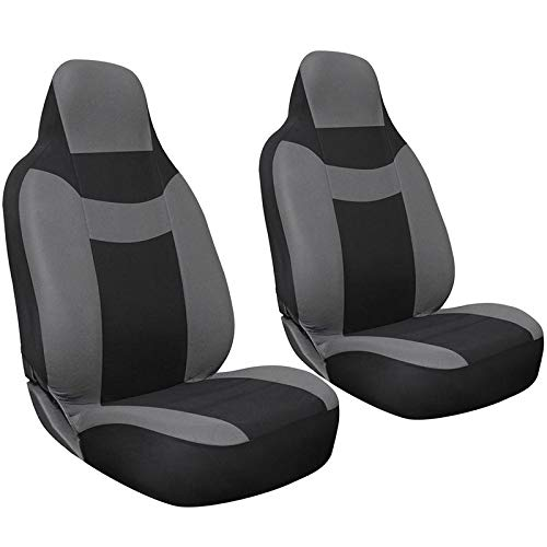 Seat Cover 2pc Set Intergrated High Back Buckets - Fits Select Vehicles Car Truck Van SUV - Gray & Black ()