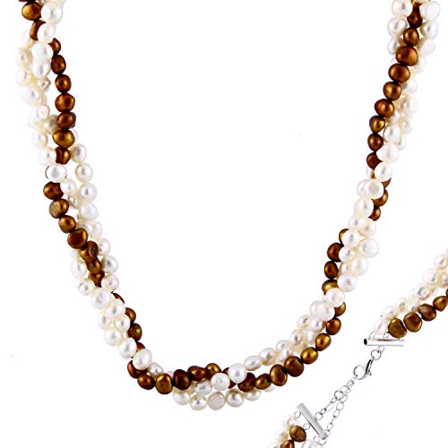 Handpicked AA Quality White and Chocolate Freshwater Cultured Pearl Triple Twist 925 Sterling Silver Necklace 17