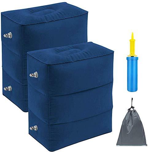 Aufblasbare Reise Fußstütze Kissen Tragbare höhenverstellbare Fußhocker für Flugzeuge, Autos, Home, Züge, Büro zu Legen oder Schlafen auf Lange Flüge mit Pumpe (Blau 2 Pack)