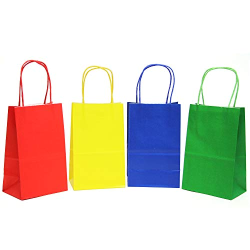 12CT Small Primary Assorted Biodegradable, Food Safe Ink & Paper, Premium Quality Paper (Sturdy & Thicker), Kraft Bag with Colored Sturdy Handle]()