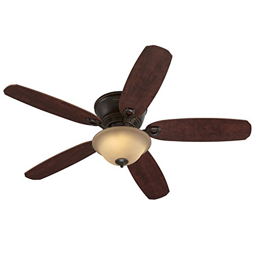 Harbor Breeze Pawtucket 52-in Oil Rubbed Bronze Indoor Flush Mount Ceiling Fan with Light Kit and Remote