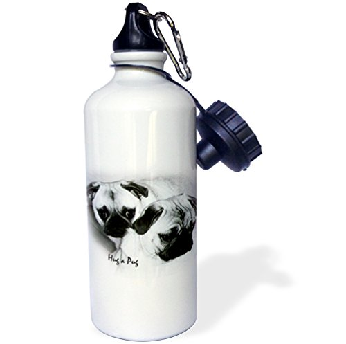 3dRose wb_1232_1 Hug a Pug Puppies Sports Water Bottle, 21 oz, White