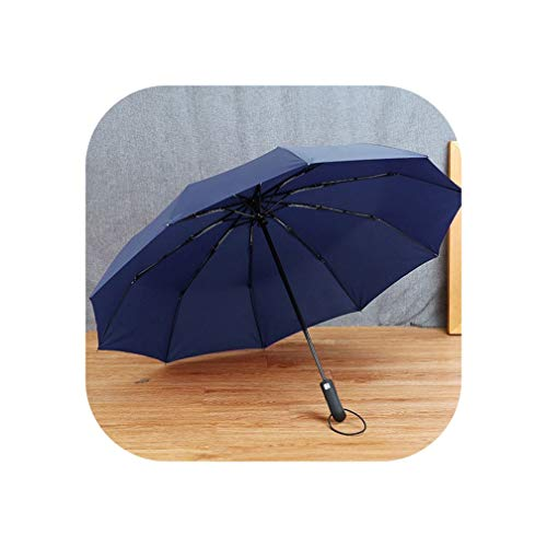 Lucky Girl New Big Strong Fashion Windproof Men Gentle Folding Compact Fully Automatic Rain Pongee Umbrella Women,Blue