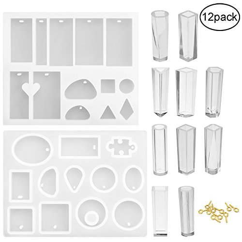 12 Pack Jewelry Casting Molds by UniqCollection, Silicone Re