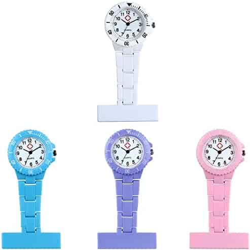 Nurse Clip-On Fob Brooch Lapel Hanging Quartz Pocket Watch with Arabic Number Markers(4PCS)