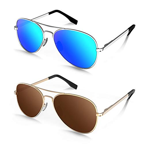 MOTOEYE Polarized Aviator Sunglasses for Kids Girls Boys Children Pack of 2 from 4 to 15 years ()