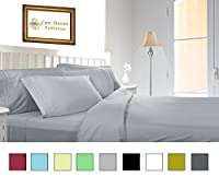 Lux Decor Bed Sheet Set - HIGHEST QUALITY Brushed Microfiber 1800 Bedding Series Sheet Set -Wrinkle, Fade, Stain Resistant - Hypoallergenic - 4 Piece Set (Queen, Grey)