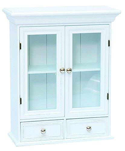 Armario con puertas de cristal y cajones blanco, estantería de pared ...
