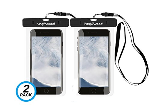 [2 Pack] Universal Waterproof Case, KingWwood Cell Phone Dry Bag Pouch with Lanyard Strap IPX8 for Apple iPhone X/8/7 Plus, Samsung Galaxy S9 Plus/ S8 Plus, LG, HTC, Sony, Google Pixel up to 6.0