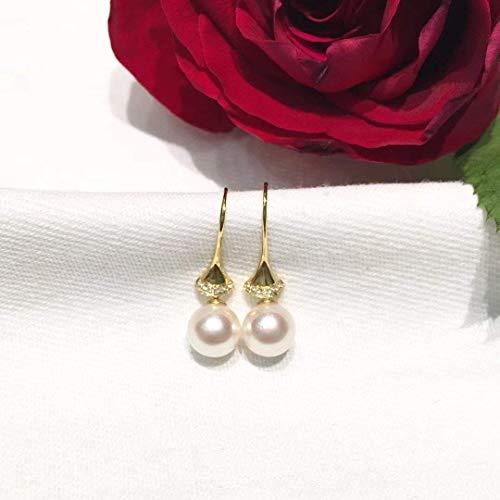 18K Yellow Gold Akoya Pearl Diamond Earrings Round Pearl Skirt Dress Shaped Drop Earrings Seawater Saltwater Japanese Akoya Pearls 7-7.5mm