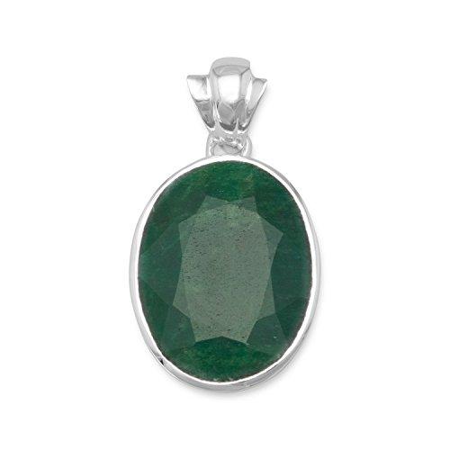 Sterling Silver Dark Green Dyed Beryl Pendant - Beryl Green Pendant