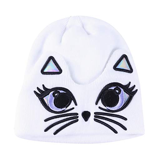 Challyhope Winter Warm Cartoon Cute Cat Embroidery Knitted Sleeve Hat Knitted Wool Beanie Caps for Women Girls (White)