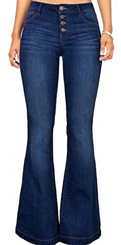 SYTX Womens Casual Mid Waist Button Up Elastic Bell-Bottoms Jean Flared Denim Pants 1 XL -