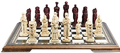 Sherlock Holmes Themed Chess Set - 5 Inches - In Presentation Box - Handmade in UK - Ivory and Burgundy