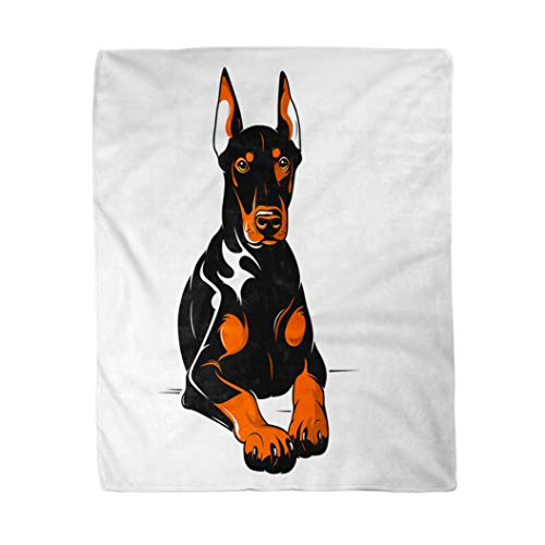 rouihot 50x60 Inches Flannel Throw Blanket Dog Doberman Security Angry Animal Bad Pincher Themes Breed Home Decorative Warm Cozy Soft Blanket for Couch Sofa Bed (Information On Doberman Pinchers)