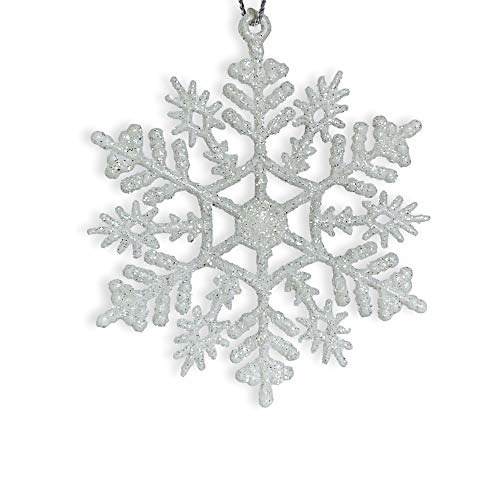 "BANBERRY DESIGNS White Glitter Snowflake Ornaments - Pack of 12 Shatterproof Snowflakes - 5"" Glitter White Snowflakes Christmas Ornaments - Snowflake Decorations"