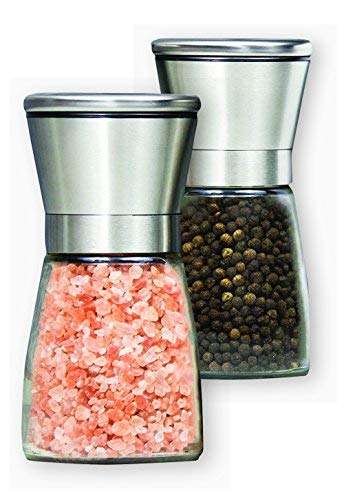 Premium Salt Pepper Grinder Set of 2- Stainless Steel Pepper Mill and Salt Mill- Adjustable Coarseness, Ceramic Rotor, Glass Body by LeMao Home