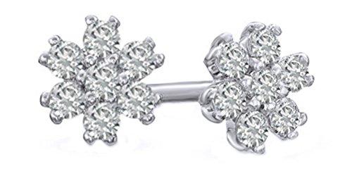 White Natural Diamond Snowflake Cluster Stud Earrings in 14k Solid White Gold (0.13 - Gold Snowflake Diamond Earrings
