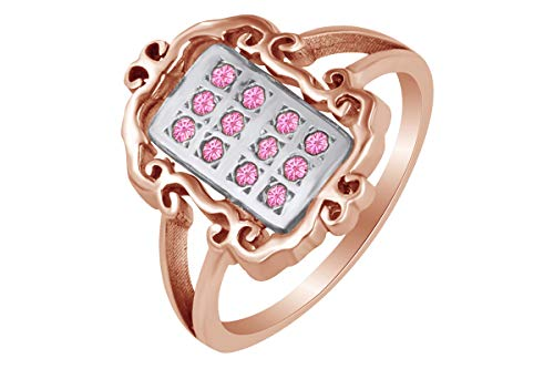 - AFFY 14k Rose Gold Over Sterling Silver Round Shape Simulated Tourmaline Fashion Two Tone Ring Size 6