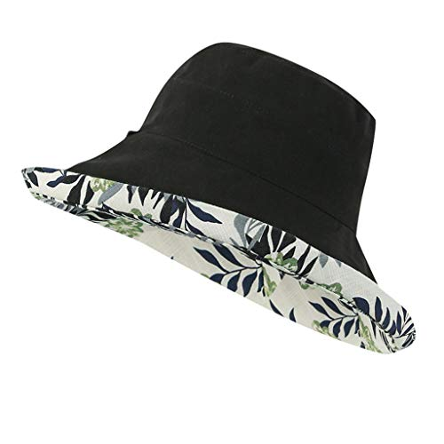Excursion Sports Unisex Multifunction Bucket Hat, Adjustable Cotton Solid Color Fisherman Hat for Summer Beach Sun Protection, Double-Sided Printed (Black2)