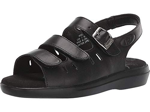 (Propet Women's W0001 Breeze Walker Sandal,Black Grain,8.5 X (US Women's 8.5 EE))