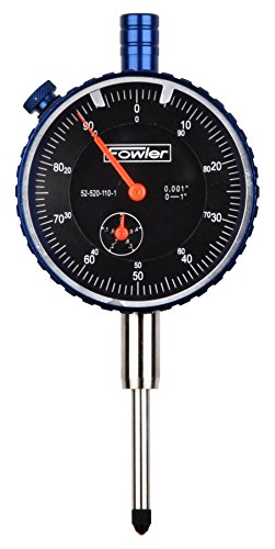 """Fowler Full One Year Warranty 52-520-110-1 1"""" Brass Premium Dial Indicator, Black Face, 1"""