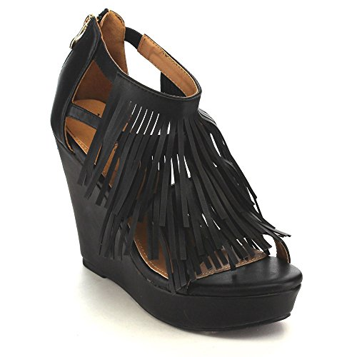BESTON Pati-05 Womens Chic Fringe Cut Out Back Zipper Slip On High Wedge Sandals Black