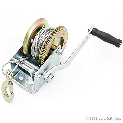 Hand Winch 2000 lbs Hand Crank Cable Gear Winch ATV Boat Trailer Heavy Duty NEW