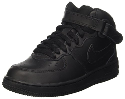 NIKE Boy's Air Force 1 Mid Basketball Shoes Black/Black Size 12C by NIKE