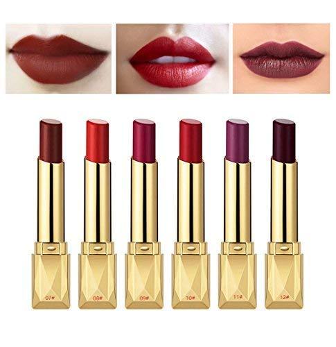 6PCS Matte Lipstick Set Matte Silky Velvet Waterproof Lipstick Lasting Non-stick Cup Lipstick (#(07-12))