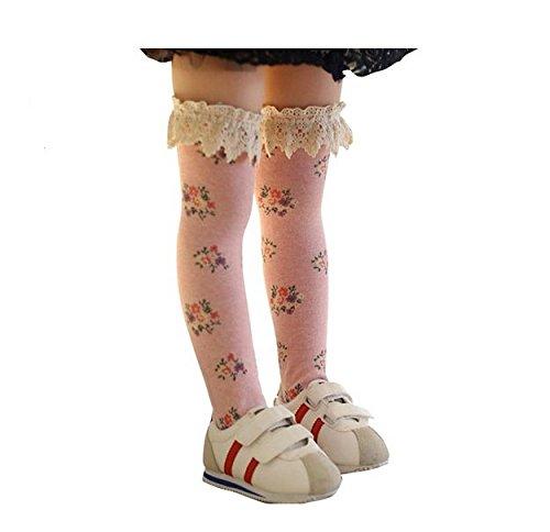 Kids Baby Girl's Cotton Flower Knee Princess Floral Lace Trim Long Tube High Socks - Online Canada Jordan Store