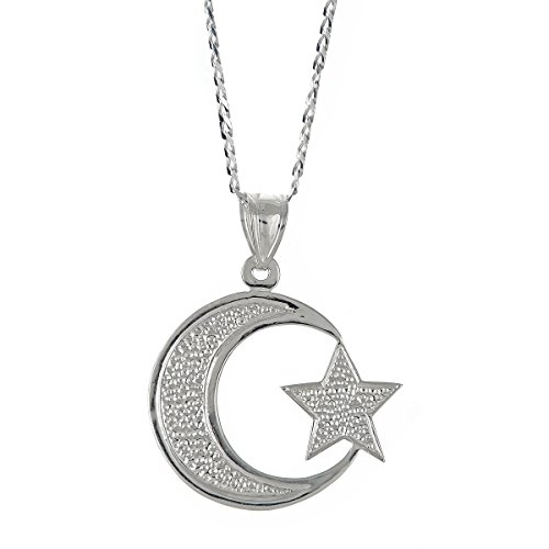 Better Jewelry .925 Sterling Silver Muslim/Islam Crescent Moon + Star Pendant w. Cuban Chain