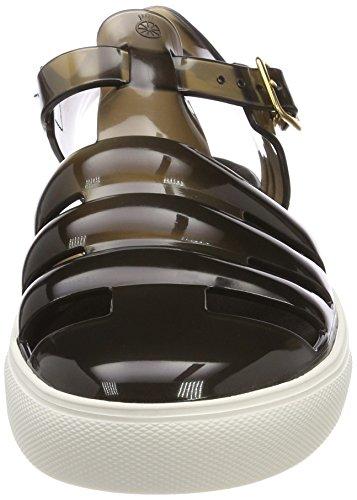 Jelly Sandals Women's Translucid Ankle 05 Black Lemon Black White Strap Crystal AXpqpdx