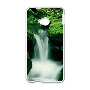 Personalized Clear Phone Case For HTC M7,charming silk stream and green rocks