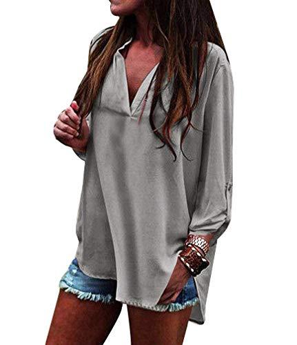 Chemisier Femme Irrgulier Longues Manches Tops Chemisiers Elgante Button Casual Style V Shirt Manche Bouffant Cou Mode Uni Printemps Grau Spcial qxEEPS