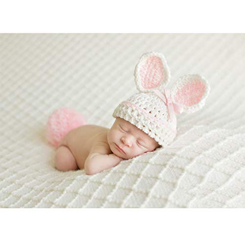 ISOCUTE Newborn Photography Props Baby Girl Easter Bunny Crochet Knitted Rabbit Set by ISOCUTE (Image #8)